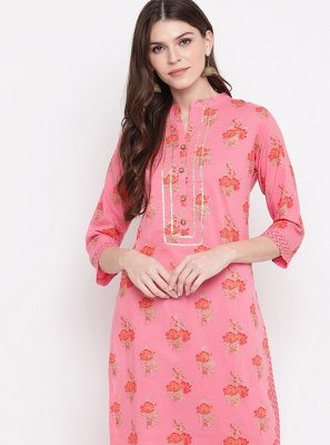 Cotton Hot Pink Party Wear Kurti