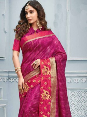 Cotton Hot Pink Patch Border Trendy Saree