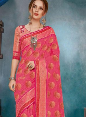 Cotton Hot Pink Printed Casual Saree