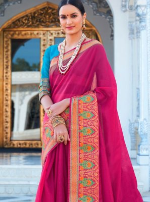 Cotton Hot Pink Woven Trendy Saree