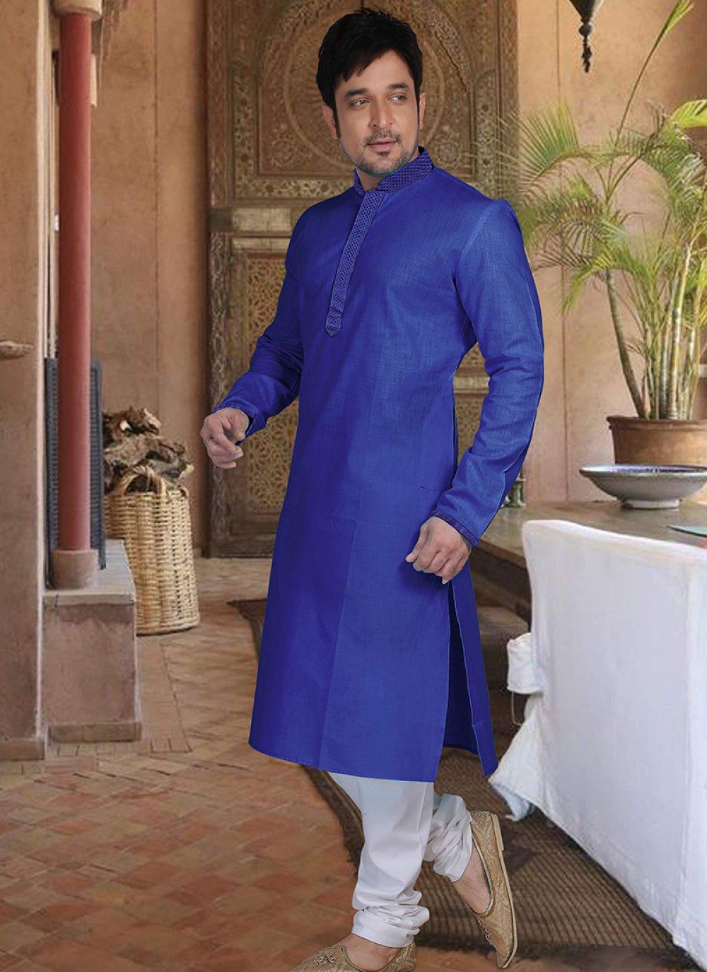 Cotton Kurta Pyjama in Blue