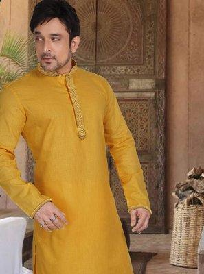 Cotton Kurta Pyjama in Mustard