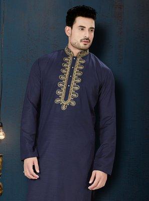 Cotton Kurta Pyjama in Navy Blue