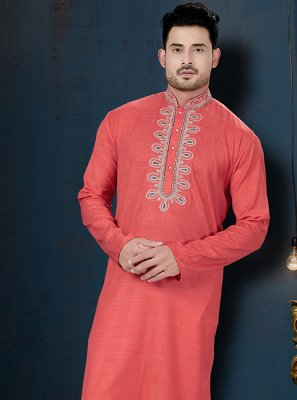 Cotton Kurta Pyjama in Orange