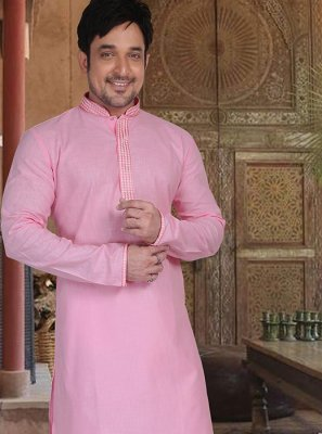 Cotton Kurta Pyjama in Pink