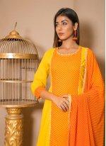 Cotton Lace Yellow Salwar Suit