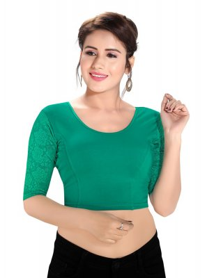 Cotton Lycra Plain Blouse in Green