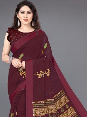 Cotton Maroon Printed Traditional Designer Saree