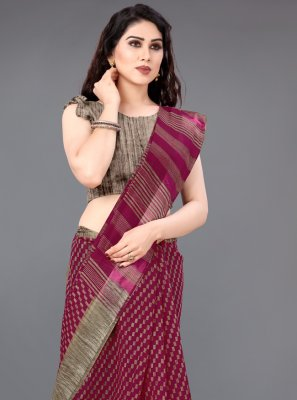 Cotton Maroon Traditional Saree