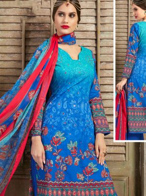 Cotton Mirror Palazzo Salwar Suit in Aqua Blue