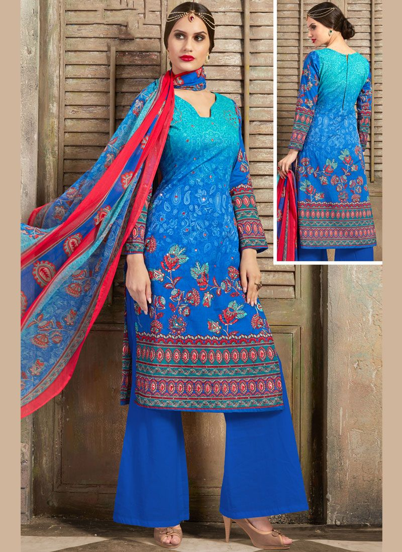 Cotton Mirror Palazzo Salwar Suit in Aqua Blue