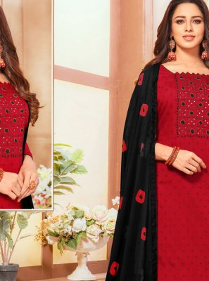 Cotton Mirror Red Designer Suit