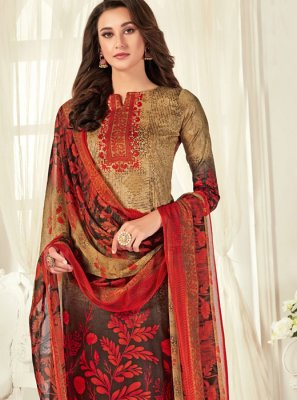 Cotton Multi Colour Digital Print Designer Palazzo Salwar Kameez