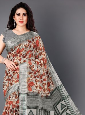 Cotton Multi Colour Floral Print Casual Saree