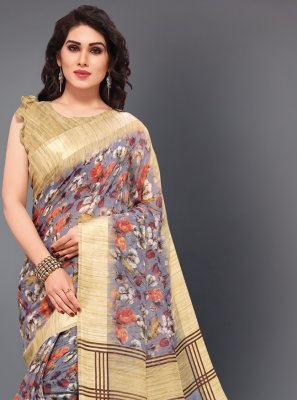 Cotton Multi Colour Floral Print Classic Saree