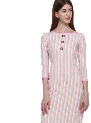Cotton Multi Colour Plain Casual Kurti