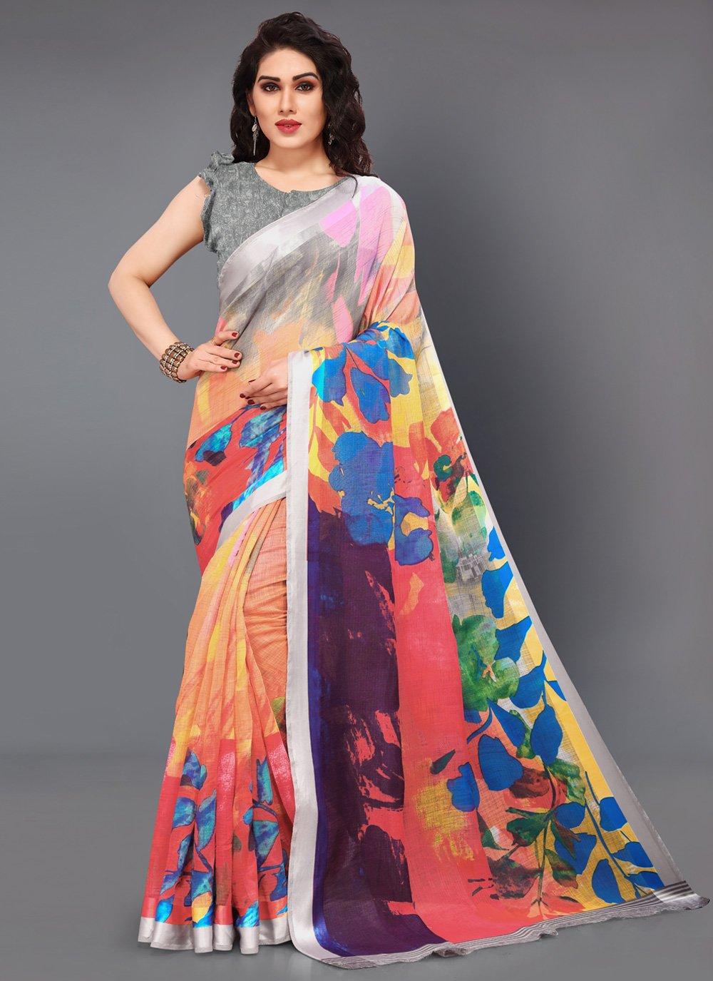 Cotton Multi Colour Printed Designer Saree