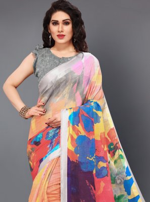 Cotton Multi Colour Printed Designer Saree