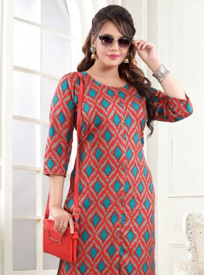 Cotton Multi Colour Printed Party Wear Kurti