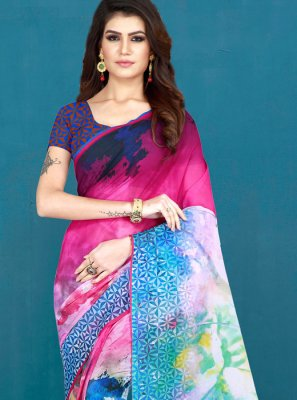 Cotton Multi Colour Printed Printed Saree