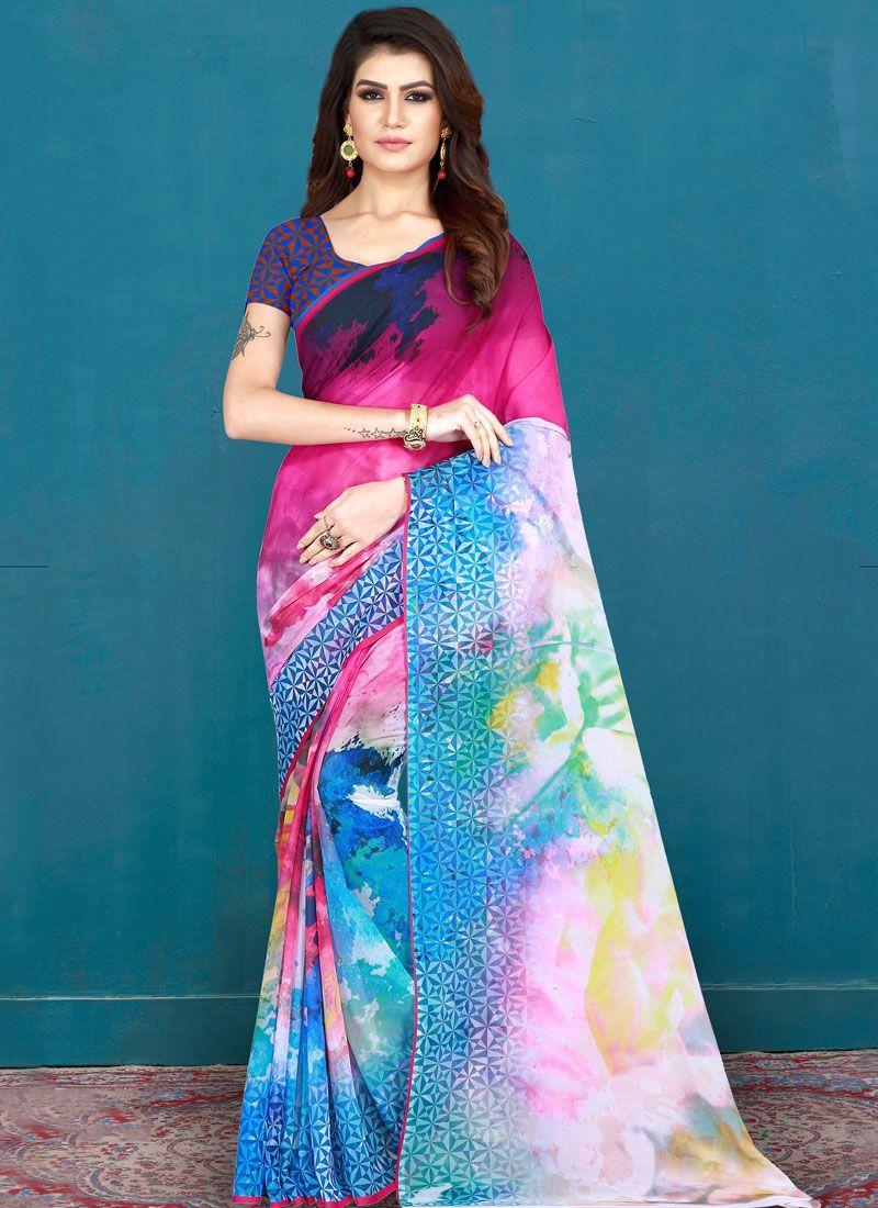 Cotton Multi Colour Printed Printed Saree