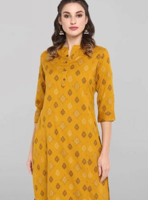 Cotton Mustard Casual Kurti