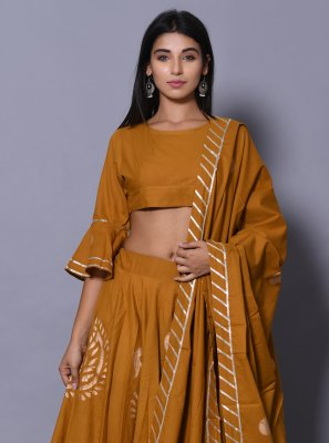 Cotton Mustard Lehenga Choli