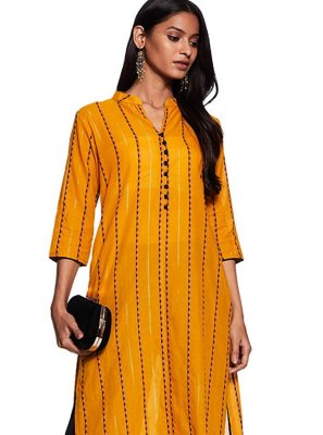 Cotton Mustard Printed Casual Kurti