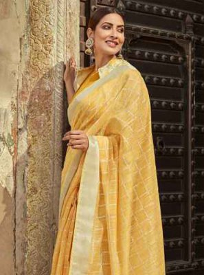 Cotton Mustard Printed Classic Saree