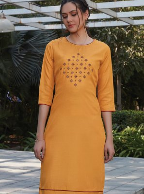 Cotton Mustard Thread Work Designer Kurti