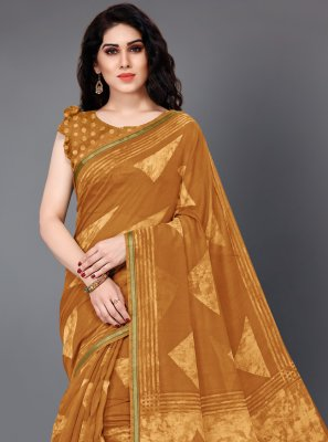 Cotton Mustard Trendy Saree