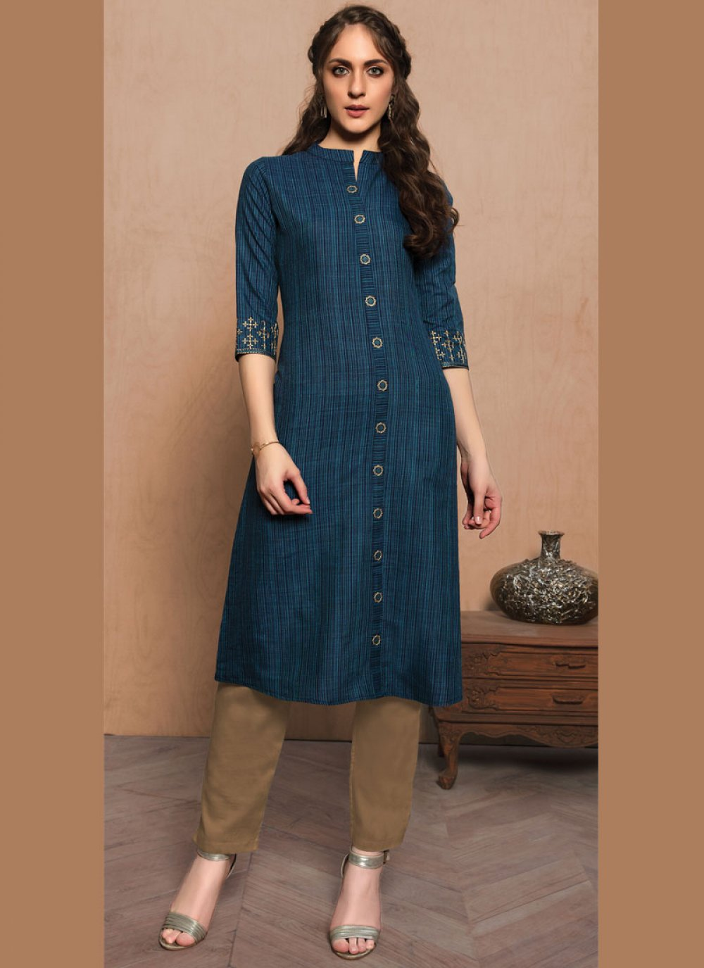 Cotton Navy Blue Embroidered Casual Kurti