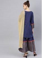 Cotton Navy Blue Print Bollywood Salwar Kameez