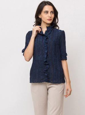 Cotton Navy Blue Printed Casual Kurti