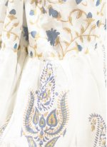 Cotton Off White Block Print Designer Saree