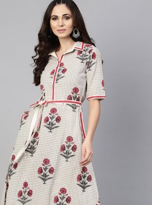 Cotton Off White Casual Kurti