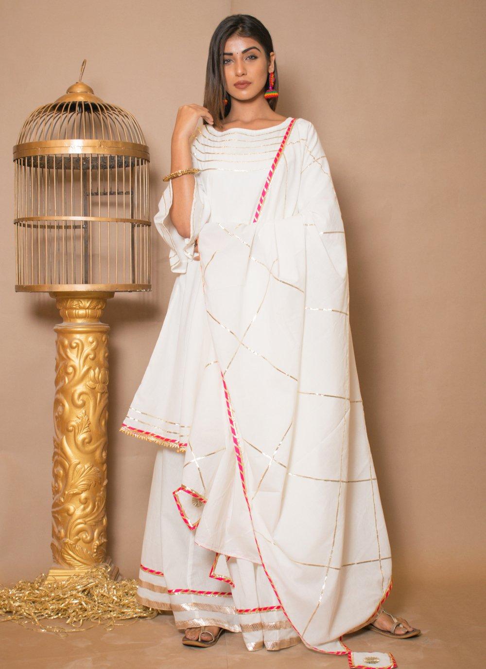 Cotton Off White Lace Salwar Suit