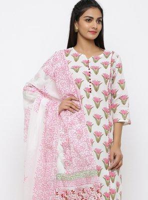 Cotton Off White Printed Salwar Kameez