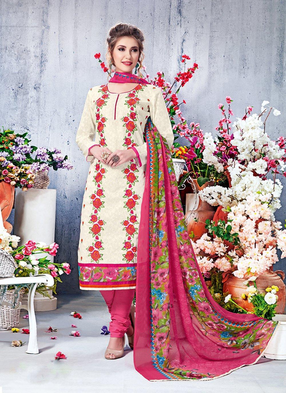 Cotton Off White Printed Salwar Suit
