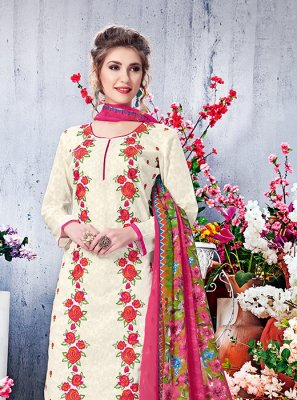 Cotton Off White Printed Salwar Suit