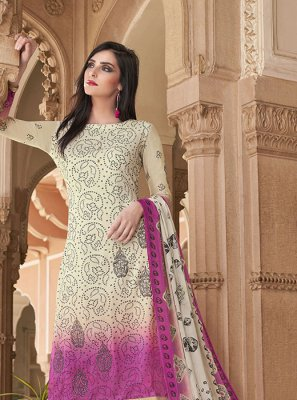 Cotton Off White Salwar Kameez