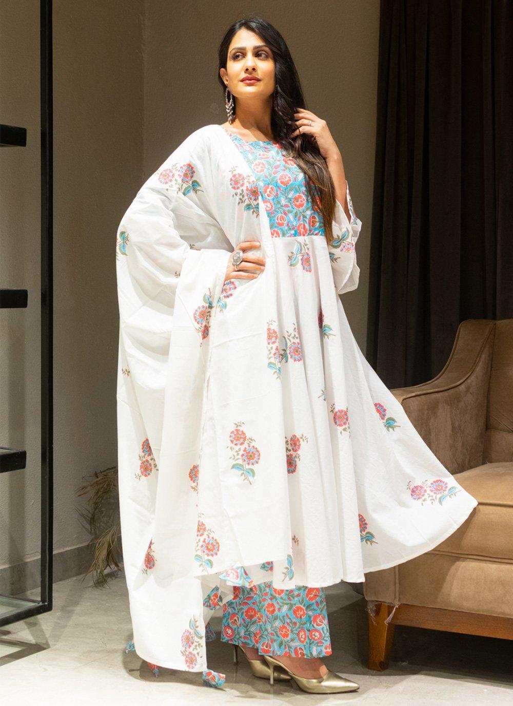 Cotton Off White Salwar Suit