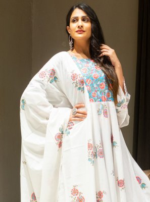 Cotton Off White Salwar Suit