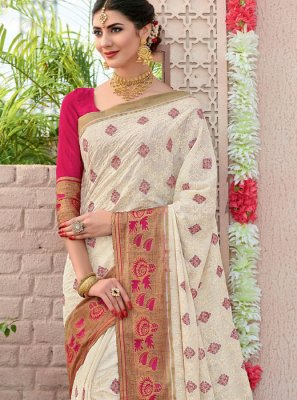 Cotton Off White Woven Trendy Saree