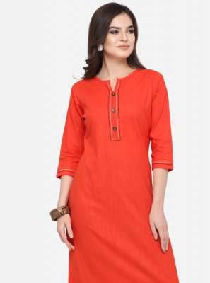 Cotton Orange Casual Kurti