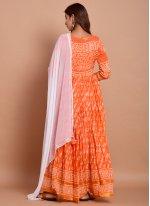 Cotton Orange Designer Gown