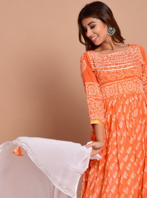 Cotton Orange Designer Gown