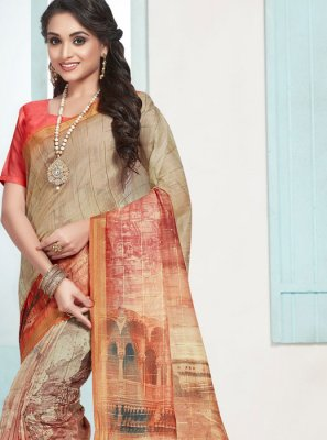 Cotton Orange Digital Print Designer Traditional Saree