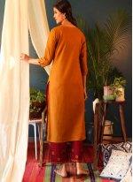 Cotton Orange Embroidered Casual Kurti