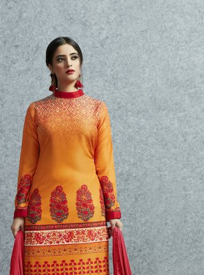 Cotton Orange Print Salwar Kameez